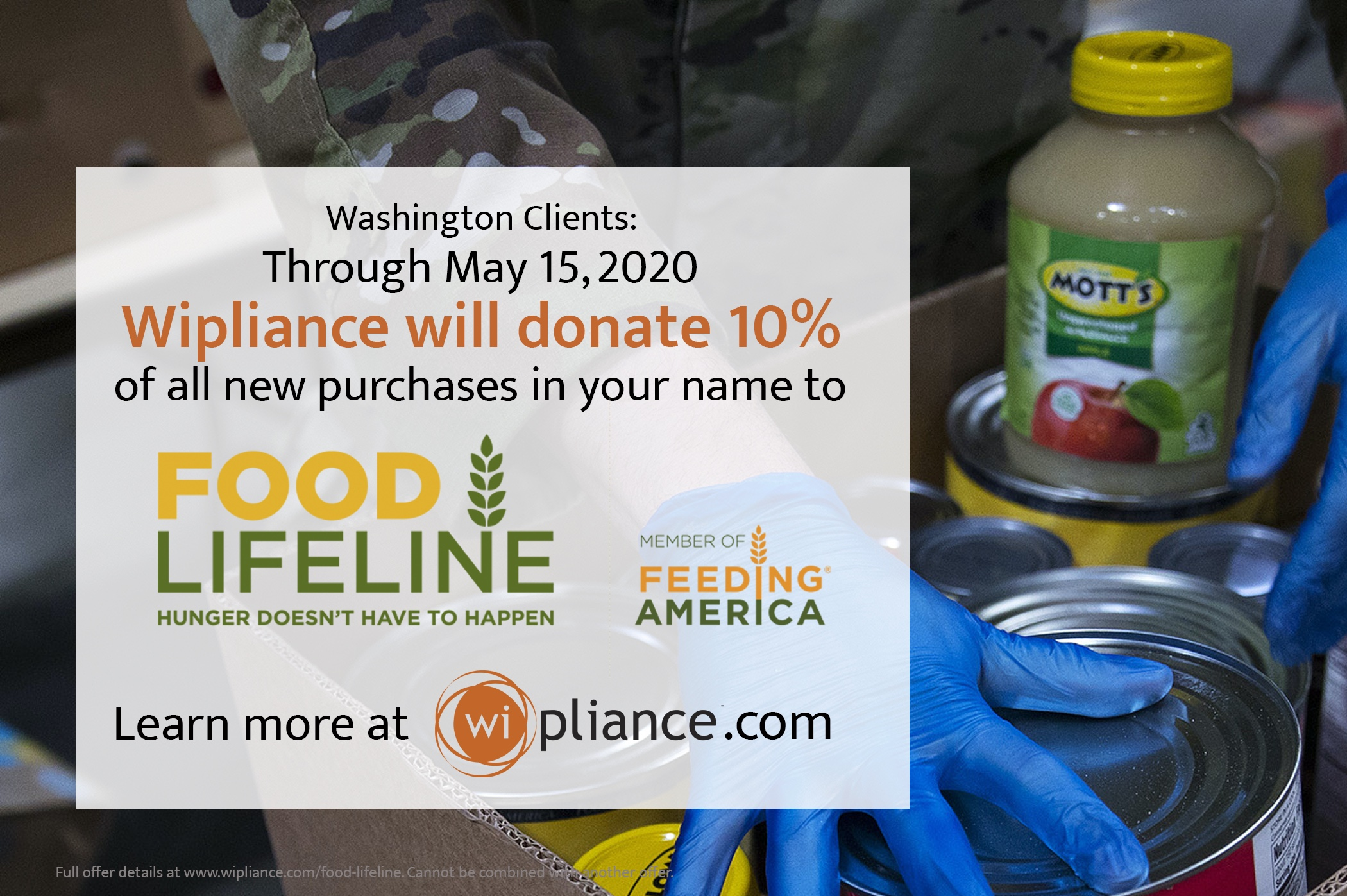 Now Through May 15- Wipliance to donate 10% of New Projects to Food Lifeline